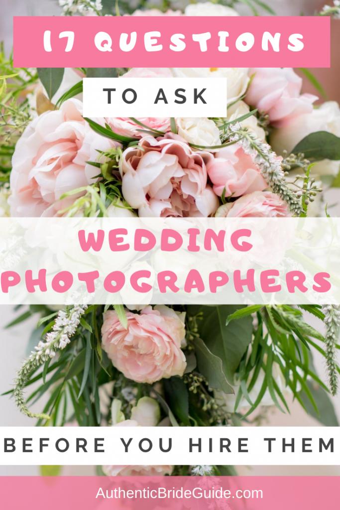 Wedding Photographer Vendor Questions